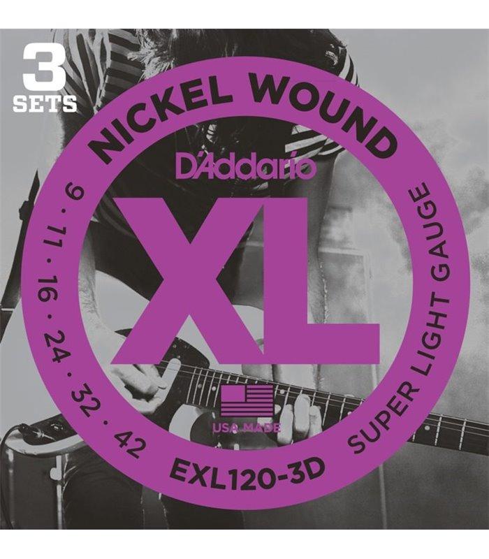 ®ICE DADDARIO ELEKTRIKA EXL120-3D 09-42 3 pack