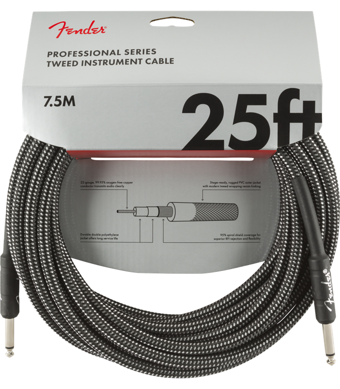 FENDER INSTRUMENT PRO 25' GREY TWEED 7,5 m KABEL