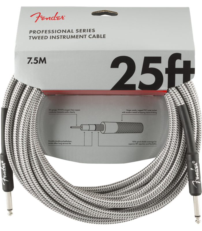 FENDER INSTRUMENT PRO 25' WHITE TWEED 7,5 m KABEL