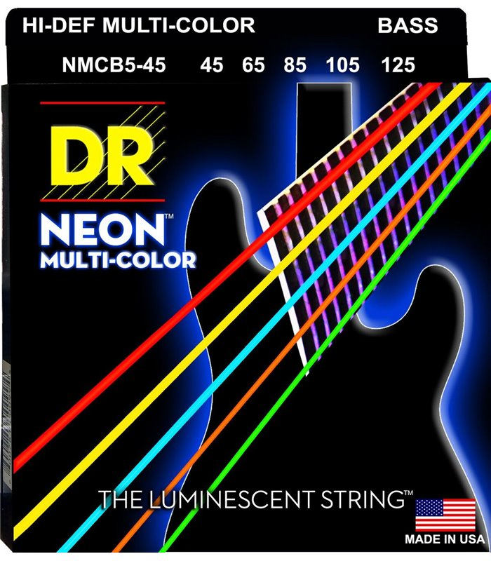 ®ICE DR.MUSIC BAS GITARA. NMCB5-45 Multi-Color Neon 45-125