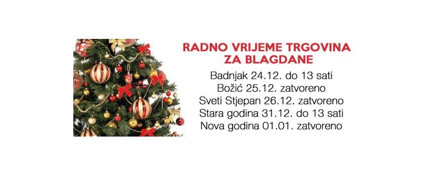 Radno Vrijeme za Božićne i Novogodišnje Blagdane 2015